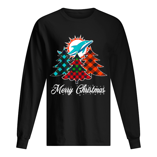 Pretty Merry Christmas Tree Football Team Miami-Dolphin Fan Long Sleeved T-shirt