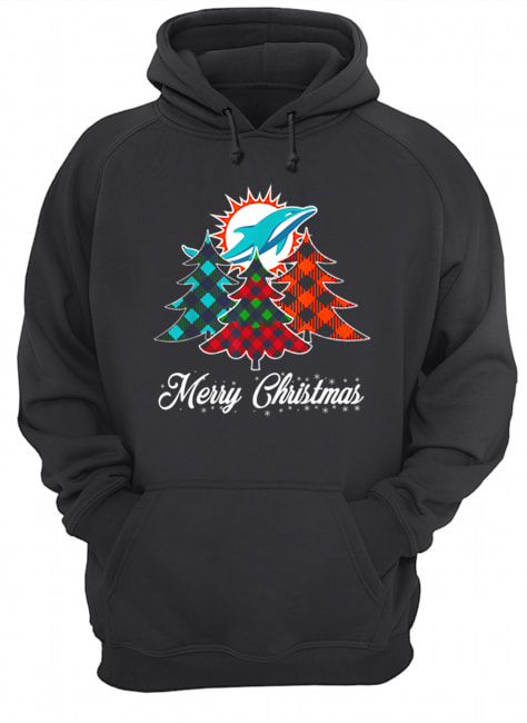 Pretty Merry Christmas Tree Football Team Miami-Dolphin Fan  Unisex Hoodie