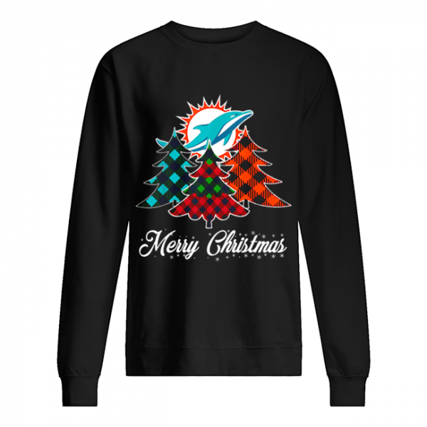 Pretty Merry Christmas Tree Football Team Miami-Dolphin Fan  Unisex Sweatshirt
