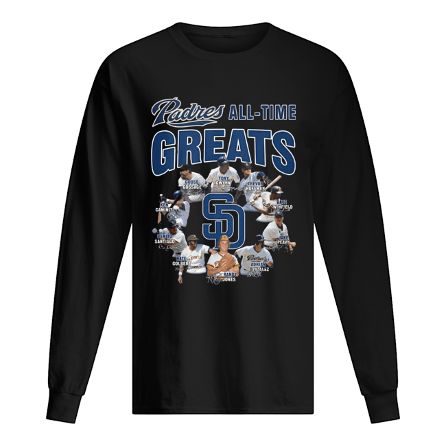 San Diego Padres All-time Greats Players Signatures Long Sleeved T-shirt