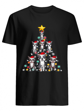 Santa Boston Terrier Christmas Tree Light shirt