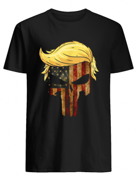 Skull With Iconic Trump Hair President Flag America shirt