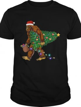 Bigfoot Carrying Christmas Tree Sasquatch Santa shirt