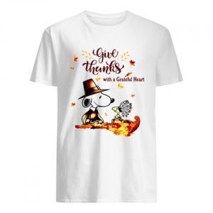 Snoopy and Woodstock Give thanks with a Grateful heart  Classic Men's T-shirt