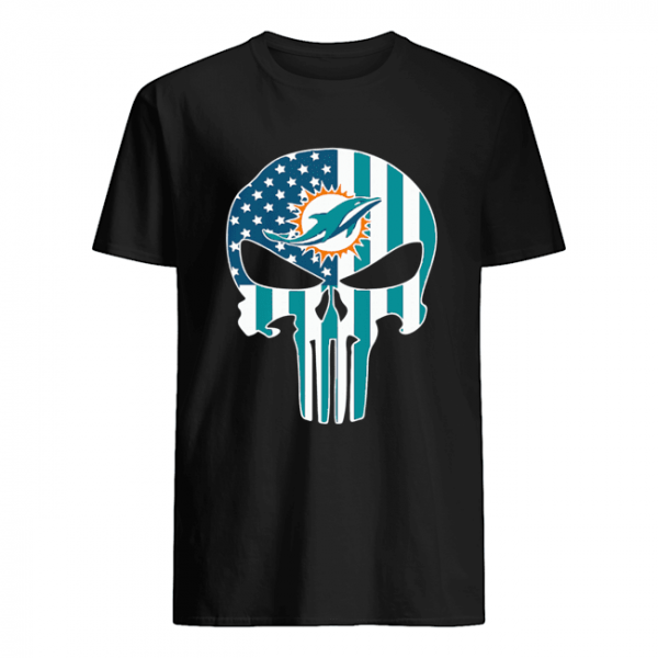 The Punisher Skull American Flag Miami Dolphins  Classic Men's T-shirt