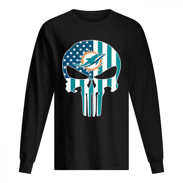 The Punisher Skull American Flag Miami Dolphins  Long Sleeved T-shirt