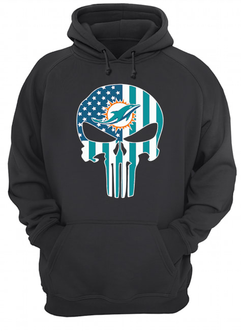 The Punisher Skull American Flag Miami Dolphins  Unisex Hoodie