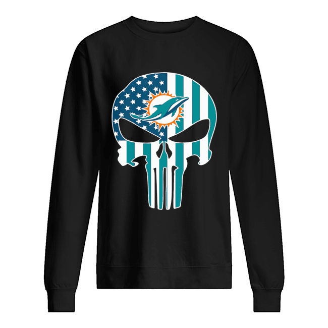 The Punisher Skull American Flag Miami Dolphins Unisex Sweatshirt