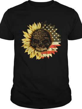 Leopard Print Skull In Sunflower American Flag shirt