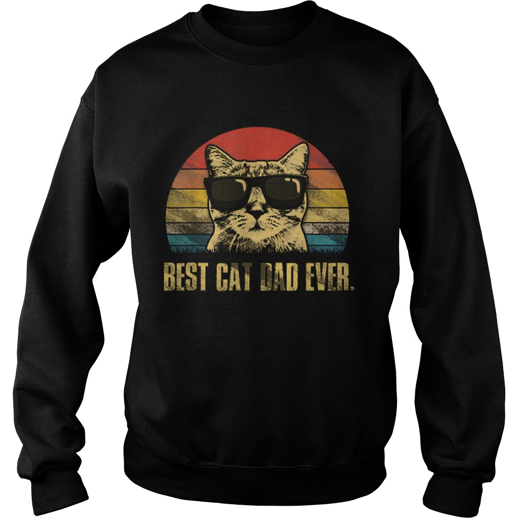 Best Cat Dad Ever Fathers Day Vintage Cat Lovers Sweatshirt