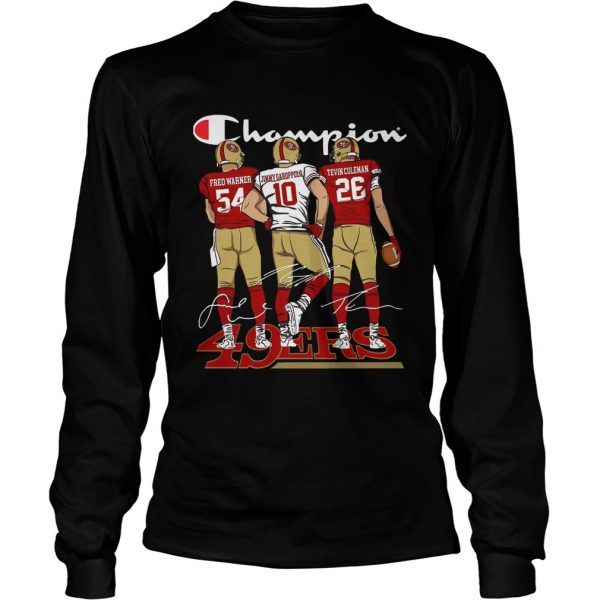 Champion San Francisco 49ers Fred Warner Jimmy Garoppolo Signature  LongSleeve