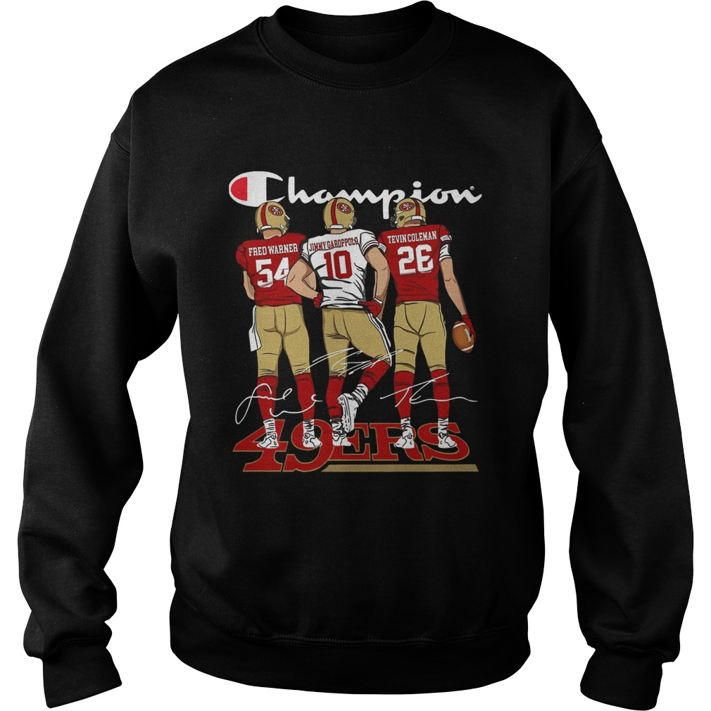 Champion San Francisco 49ers Fred Warner Jimmy Garoppolo Signature Sweatshirt