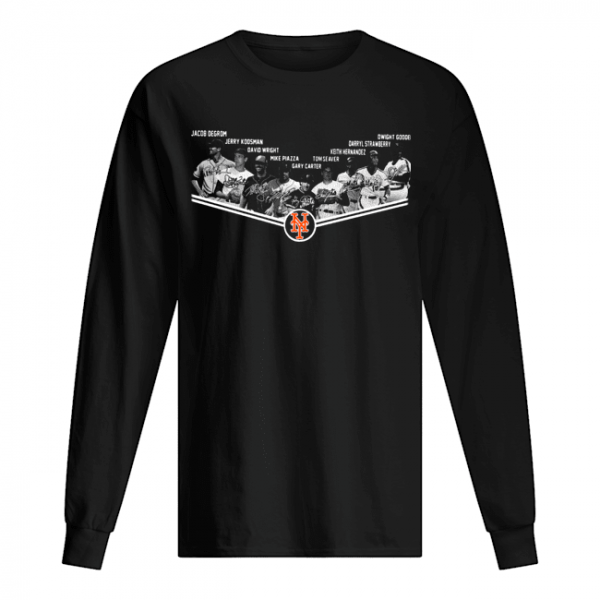 New York Mets Players Team Signatures  Long Sleeved T-shirt