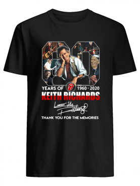 80 years of 1960 2020 the rolling stones keith richard thank you for the memories signatures shirt