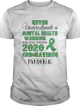 Never underestimate a mental health warrior who also survived 2020 coronavirus pandemic awareness shirt