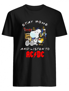 Snoopy And Woodstock Face Mask Stay Home And Listen To ACDC Hard Rock Band shirt