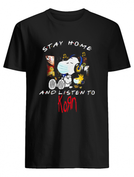 Snoopy And Woodstock Face Mask Stay Home And Listen To Korn Nu Metal Band shirt
