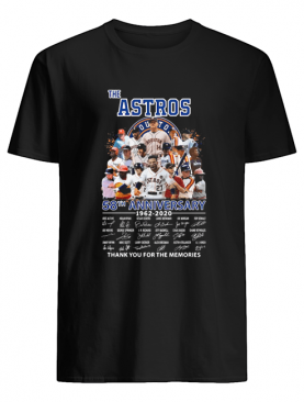 The Houston Astros 58th anniversary 1962-2020 signatures thank you for the memories shirt