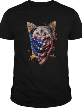 Yorkshire terrier fire in sight american flag shirt