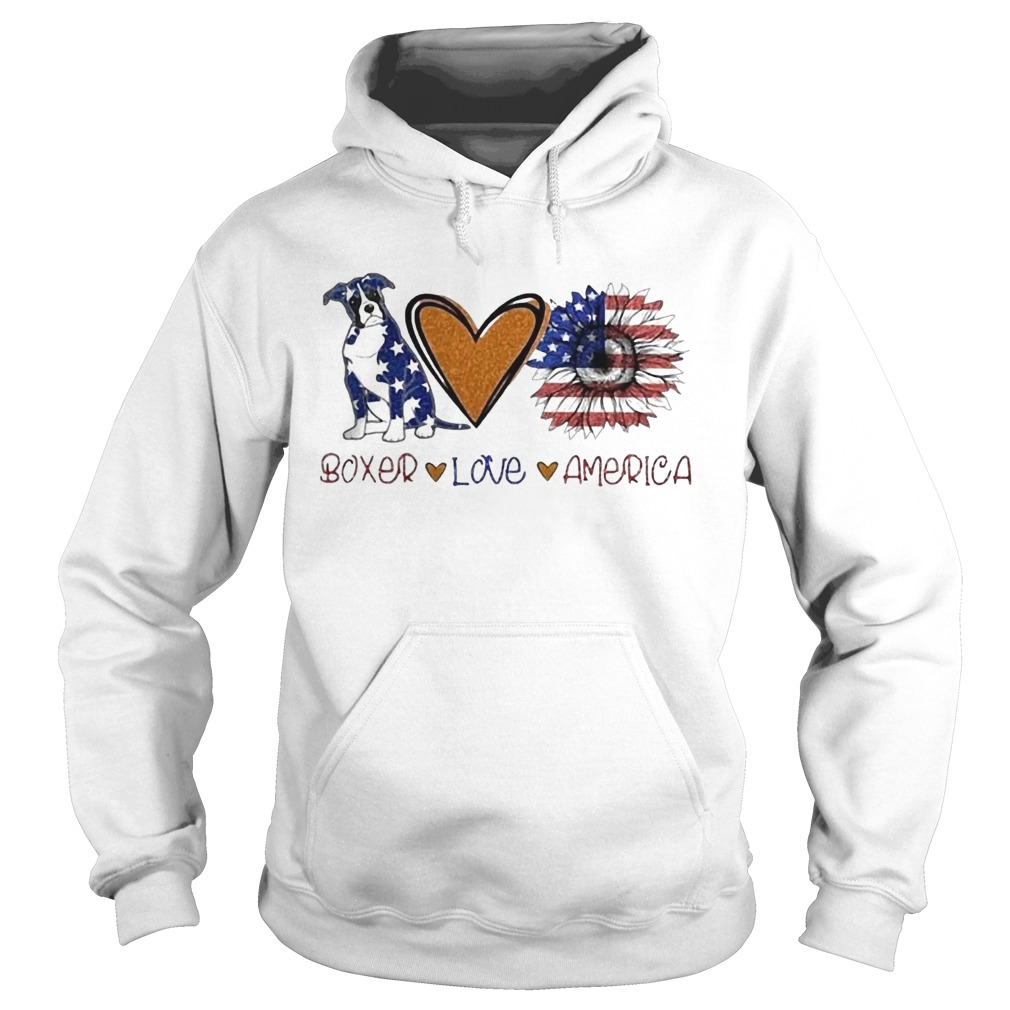 Boxer Love Heart Sunflower American Flag Veteran Independence Day Hoodie