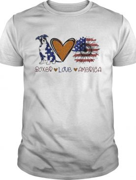 Boxer Love Heart Sunflower American Flag Veteran Independence Day shirt