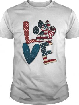 Independence Day love dog paw shirt