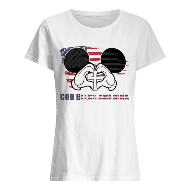 Mickey mouse god bless america flag independence day Classic Women's T-shirt