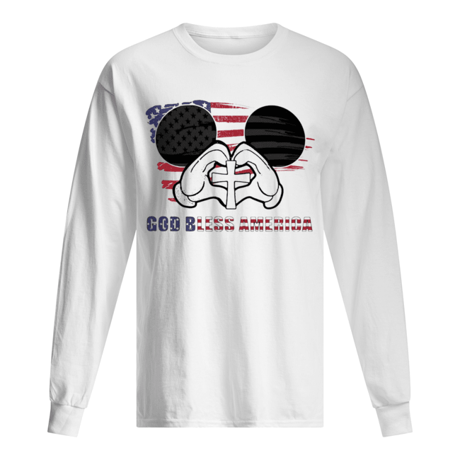 Mickey mouse god bless america flag independence day Long Sleeved T-shirt