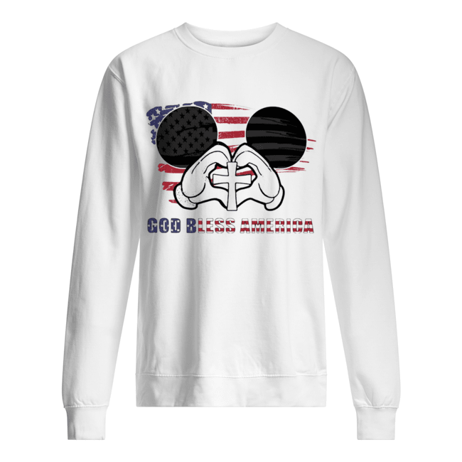 Mickey mouse god bless america flag independence day Unisex Sweatshirt