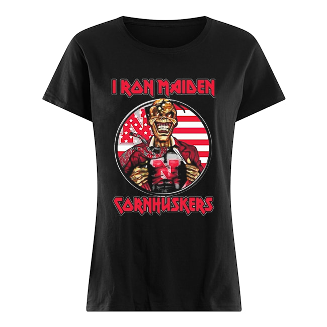 Skull Iron Maiden Nebraska Cornhuskers American Flag Independence Day Classic Women's T-shirt