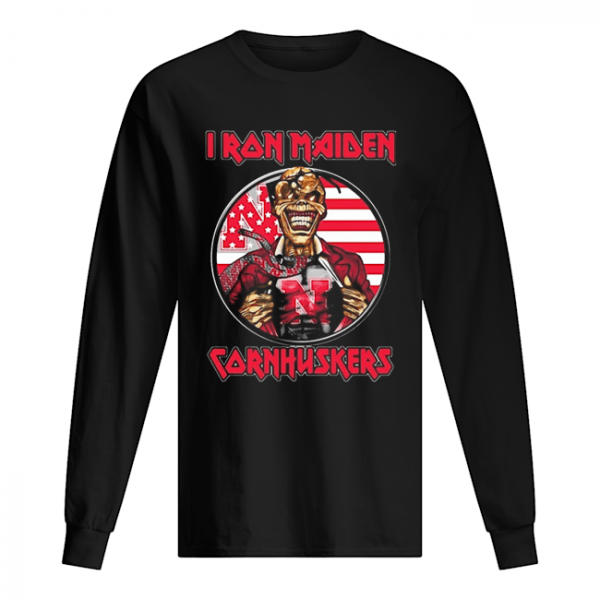 Skull Iron Maiden Nebraska Cornhuskers American Flag Independence Day  Long Sleeved T-shirt