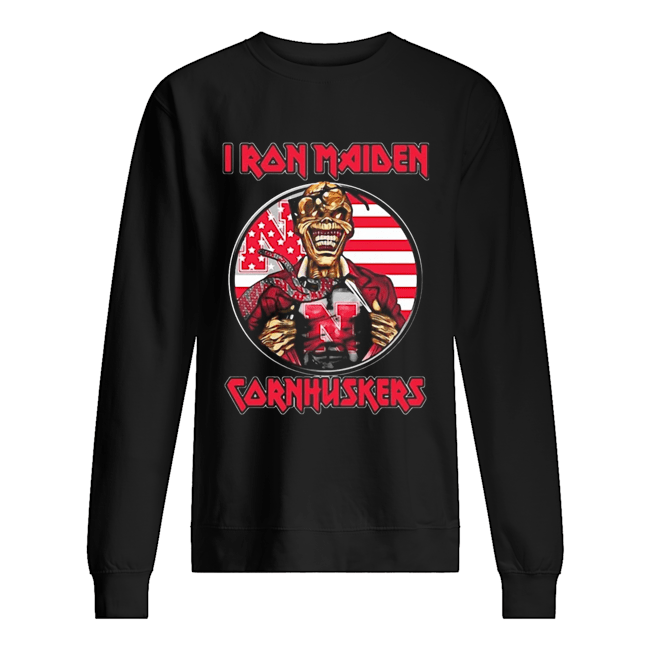 Skull Iron Maiden Nebraska Cornhuskers American Flag Independence Day Unisex Sweatshirt