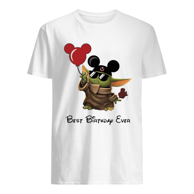 Star wars baby yoda holding balloon mickey mouse best birthday ever Classic Men's T-shirt