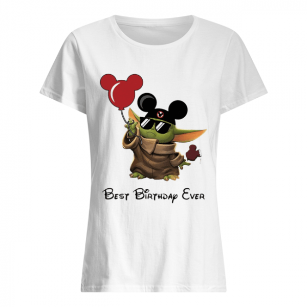 Star wars baby yoda holding balloon mickey mouse best birthday ever  Classic Women's T-shirt