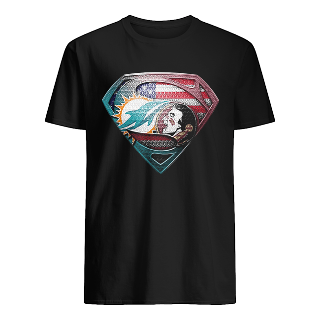 Superman miami dolphins vs florida state american flag independence day Classic Men's T-shirt