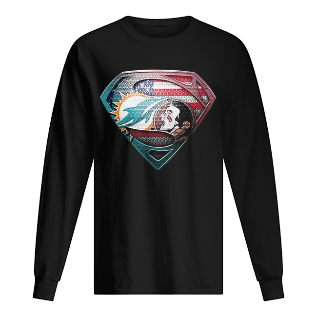 Superman miami dolphins vs florida state american flag independence day Long Sleeved T-shirt