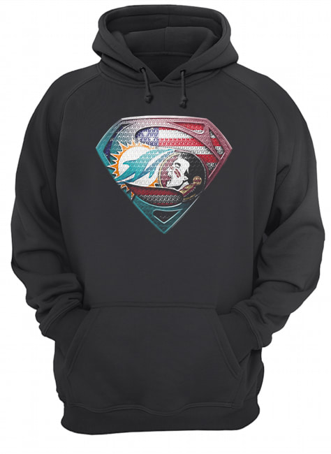 Superman miami dolphins vs florida state american flag independence day  Unisex Hoodie