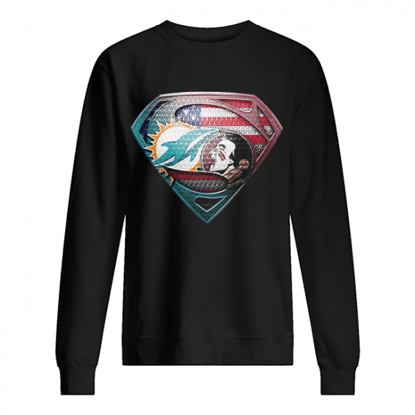 Superman miami dolphins vs florida state american flag independence day  Unisex Sweatshirt
