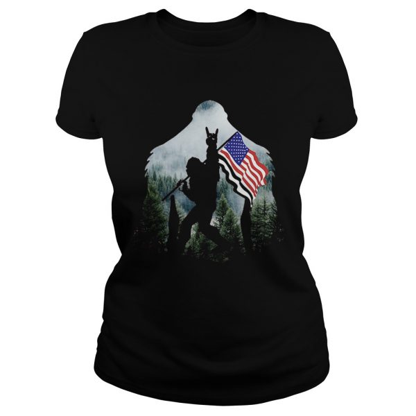 Bigfoot Into The Forest American Flag  Classic Ladies