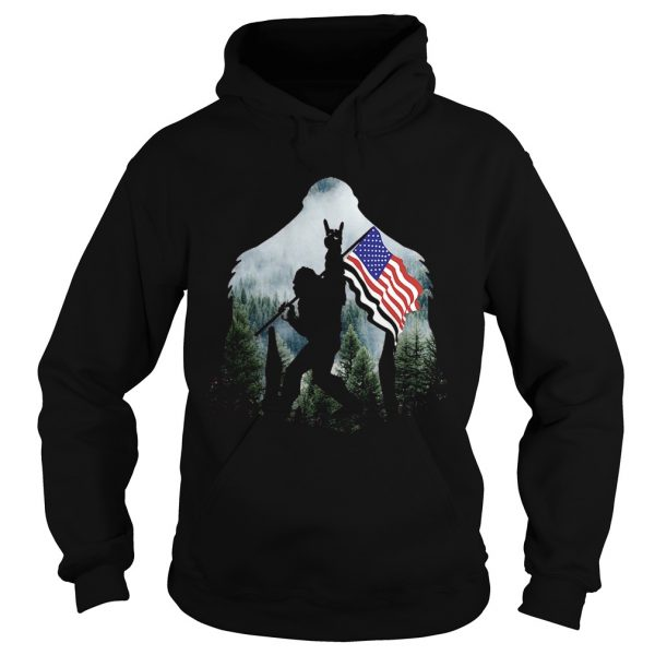 Bigfoot Into The Forest American Flag  Hoodie