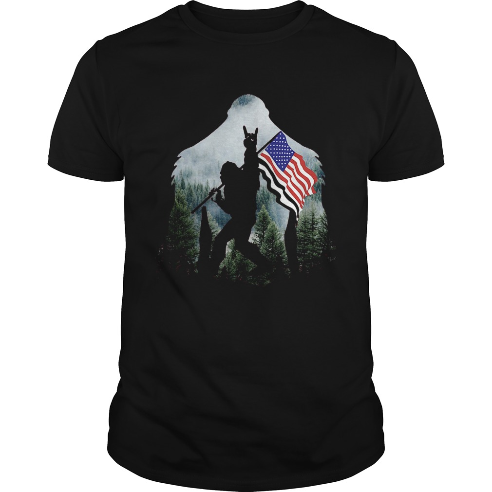 Bigfoot Into The Forest American Flag Unisex