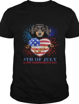 Dachshund hug heart love 4th of july happy independence day firework american flag shirt
