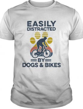 Easily Distracted By Dogs And Bikes Footprint Vintage Retro shirt