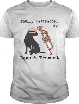 Easily distracted by dogs and trumpet shirt