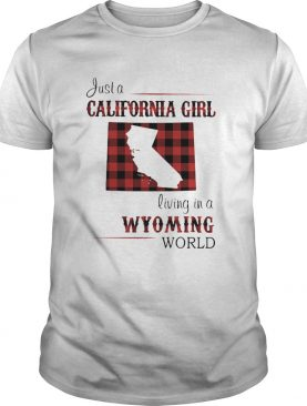 Just a California girl living in a Wyming world map shirt
