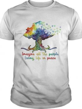 Lgbt imagine all the people living life in peace tree shirt