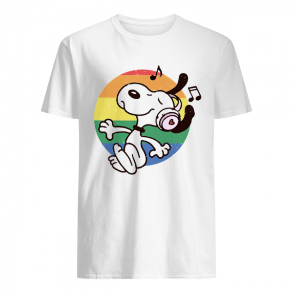 Lgbt snoopy listening to music vintage  Classic Men's T-shirt
