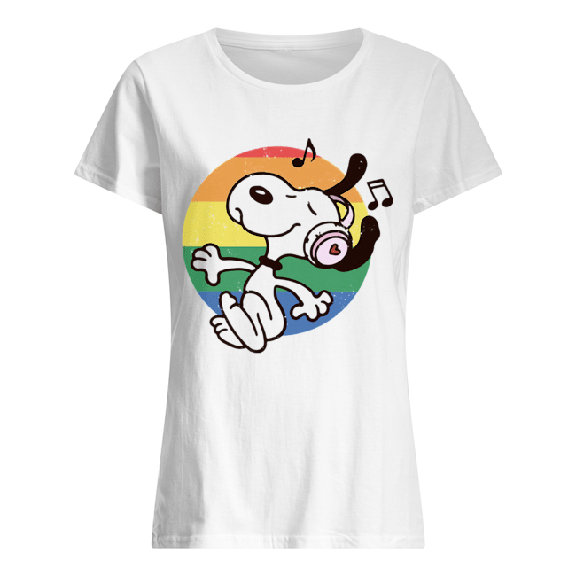 Lgbt snoopy listening to music vintage Classic Women's T-shirt