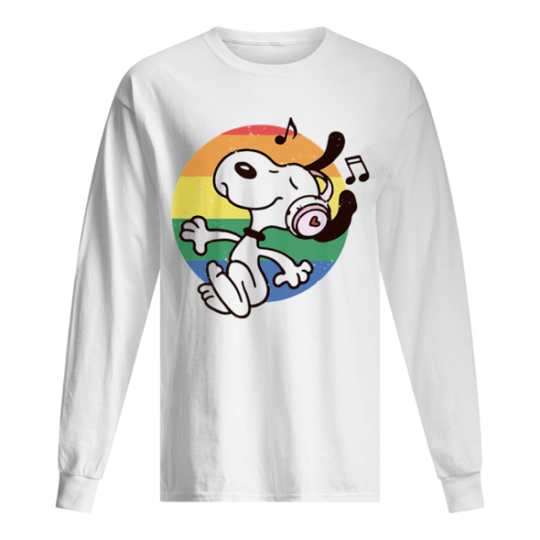 Lgbt snoopy listening to music vintage  Long Sleeved T-shirt