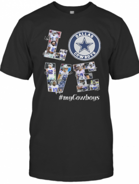 Love My Dallas Cowboys Football Team Players Signatures T-Shirt